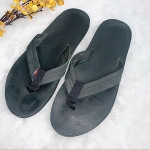 RAINBOW | Mens 8.5-9.5 Flip Flops Slippers Black